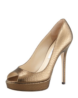 Jimmy Choo Crown Metallic Snake-Embossed Platform Pump