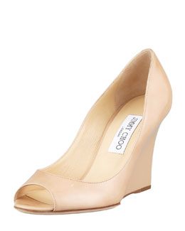 Jimmy Choo Baxen Patent Peep-Toe Wedge Pump, Nude