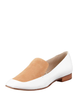 Elizabeth and James Cassi Leather Loafer, White/Tan