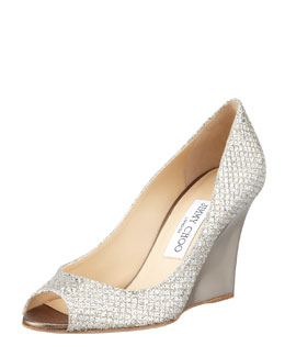 Jimmy Choo Baxen Glitter Mirrored Wedge Pump, Champagne