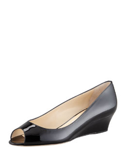 Jimmy Choo Bergen Peep-Toe Patent Wedge, Black