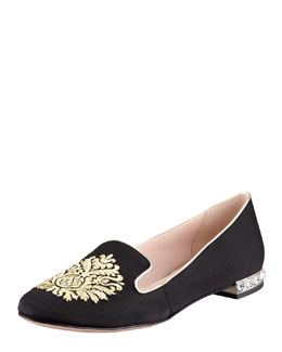 Miu Miu Grosgrain Damask-Embroidered Smoking Slipper