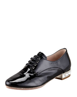 Miu Miu Patent Leather Jewel Heel Loafer, Black