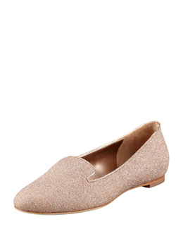 Alexander McQueen Glitter Fabric Smoking Slipper, Petal