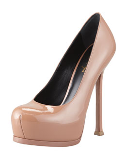 Saint Laurent Tribtoo Patent Leather Pump, Dark Nude