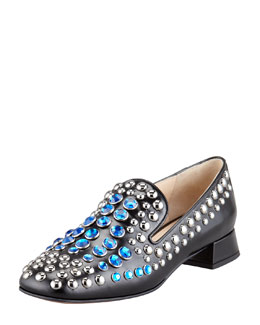 Prada Jeweled Spazzolato Smoking Slipper, Black