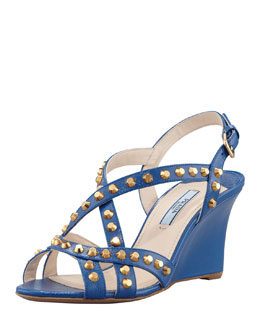 Prada Studded Saffiano Wedge Sandal, Blue