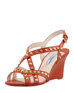 Prada Studded Saffiano Wedge Sandal, Orange