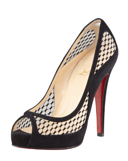 Christian Louboutin Camilla Fishnet Suede Platform Red Sole Pump