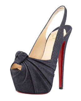 Christian Louboutin Miss Benin Denim Knotted Platform Red Sole Slingback