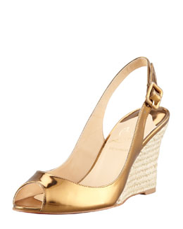 Christian Louboutin Puglia Metallic Red Sole Espadrille Wedge