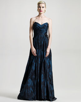 David Meister Signature Two-Tone Jacquard Sweetheart Gown