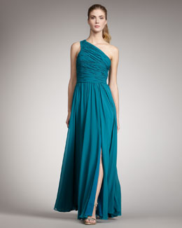 Halston Heritage One-Shoulder Gown