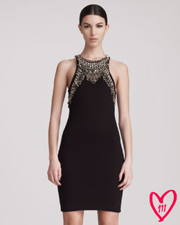 McQ Alexander McQueen BG 111th Anniversary Pin-Trimmed Racerback Sheath Dress