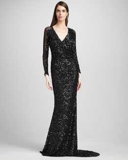 Pamella Roland Sheer-Sleeve Sequin Gown