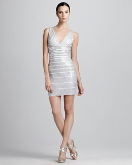 Herve Leger Sequined V-Neck Bandage Dress