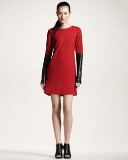10 Crosby Derek Lam Leather-Sleeve Dress
