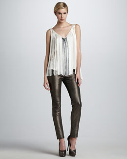 Haute Hippie Metallic Stretch-Leather Pants