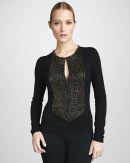 Naeem Khan Embroidered Cashmere Sweater