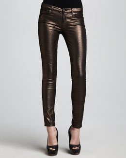 7 For All Mankind The Skinny Copper Liquid Metallic Jeans