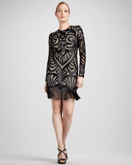 Naeem Khan Beaded Long-Sleeve Cocktail Dress