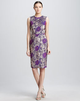 Kalinka Metallic Floral Cocktail Dress