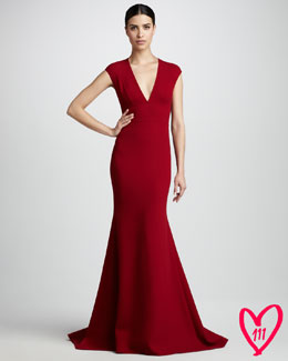 Carmen Marc Valvo Couture BG 111th Anniversary Deep-V Gown