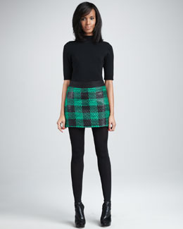 Milly Laminated Tweed Miniskirt