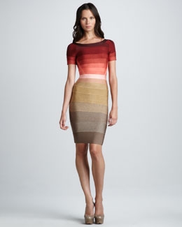 Herve Leger Ombre-Stripe Short-Sleeve Bandage Dress