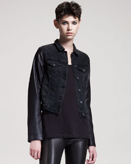 rag & bone/JEAN Rock Leather-Trim Jean Jacket
