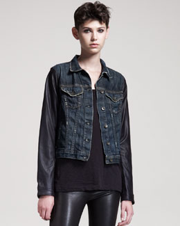 rag & bone/JEAN Distressed Leather-Sleeve Jean Jacket