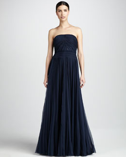 Carmen Marc Valvo Couture Pleated Strapless Gown
