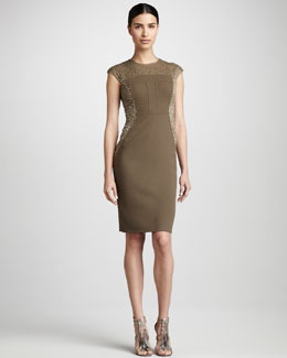 Carmen Marc Valvo Couture Bead-Panel Cocktail Dress