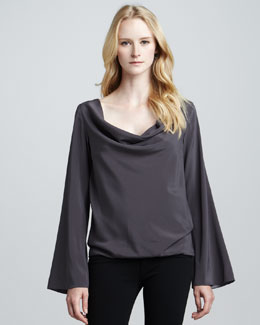 Ramy Brook Joni Drape-Neck Top