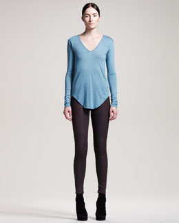 HELMUT Helmut Lang Gloss-Wash Stretch Leggings, Drought