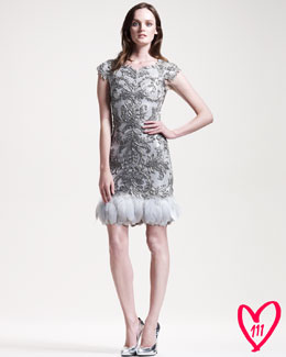 Marchesa Couture BG 111th Anniversary Feather-Trim Cocktail Dress