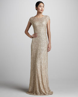 David Meister Signature Sequined Cap-Sleeve Gown