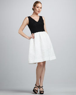 David Meister Signature Colorblock Lace Cocktail Dress