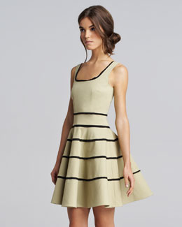 RED Valentino Striped Tricotine Dress