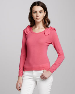 RED Valentino Bow-Shoulder Wool Sweater
