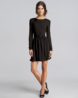 RED Valentino Bow-Waist Wool Dress