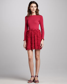 RED Valentino Long-Sleeve Ruffle-Skirt Dress, Fuchsia