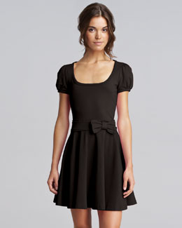 RED Valentino Bow-Waist Jersey Dress, Black