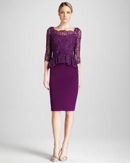 Notte by Marchesa Three-Quarter Sleeve Cocktail Dress with Peplum