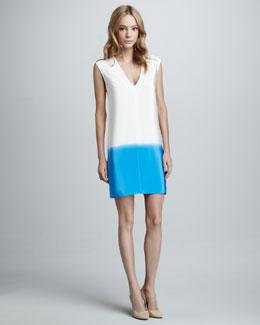 Tibi Colorblock V-Neck Shift Dress