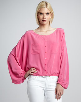 Rachel Zoe Michelle Button-Front Silk Top
