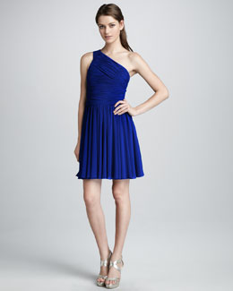 Halston Heritage Ruched-Top Cocktail Dress