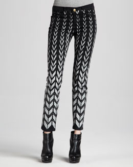 Current/Elliott The Ankle Chevron-Print Skinny Jeans