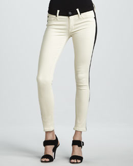 Hudson Leelou Bone Leather Colorblock Cropped Jeans
