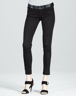 Hudson Leelou Black Leather Colorblock Cropped Jeans